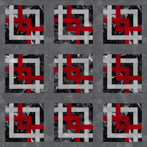 Fill A Yard Carpenters Square Quilt Block 6in Red Grey Black