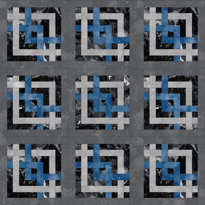 Fill A Yard Carpenters Square Quilt Block 6in Blue Grey Black