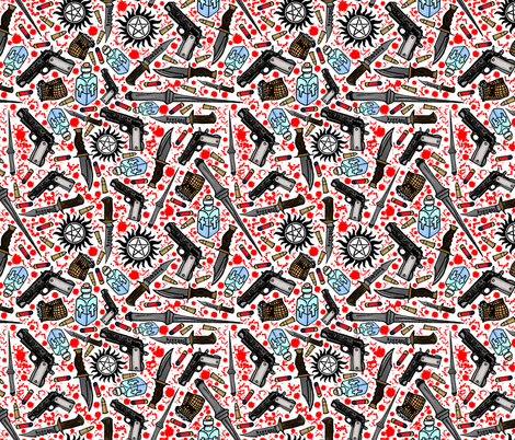 The Hunter's Arsenal fabric by sharksvspenguins on Spoonflower - custom fabric