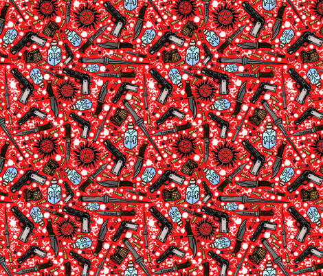 The Hunter's Arsenal (inverted) fabric by sharksvspenguins on Spoonflower - custom fabric