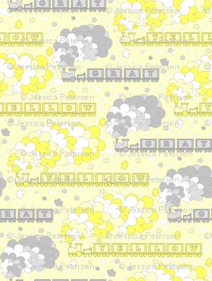 Baby's Color Alphabet Trains | yellow & gray | yellow background | medium