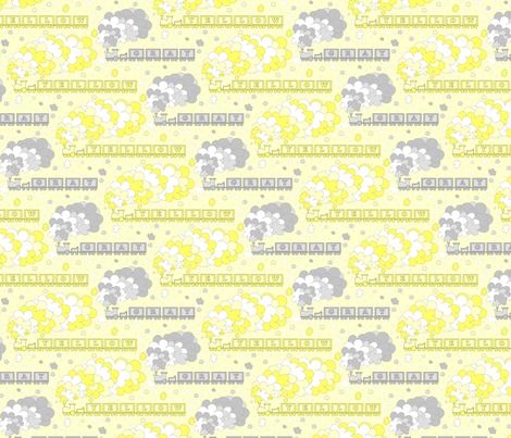 Baby's Color Alphabet Trains | yellow & gray | yellow background | medium fabric by playtrains on Spoonflower - custom fabric