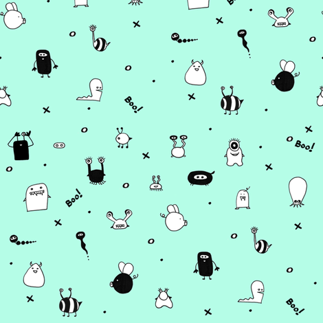 Minty Monster Hide and Seek fabric by booboo_collective on Spoonflower - custom fabric