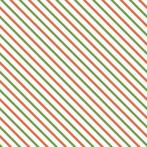 Orange & Green Diagonal Stripe