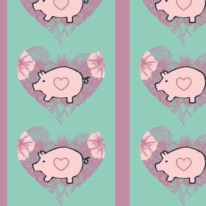 Pigs Flowers and Hearts