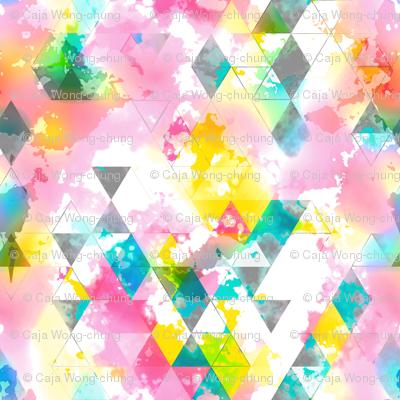 Rainbow Multi Color Triangles Watercolor