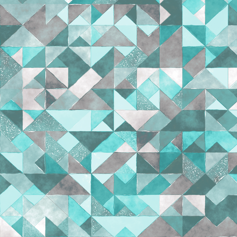 watercolor triangles squares geometric mint green fabric