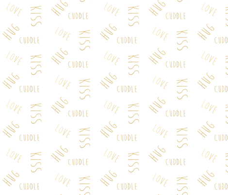 love hug kiss cuddle in shiny gold fabric by jenlats on Spoonflower - custom fabric