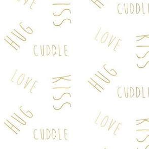 love hug kiss cuddle in shiny gold
