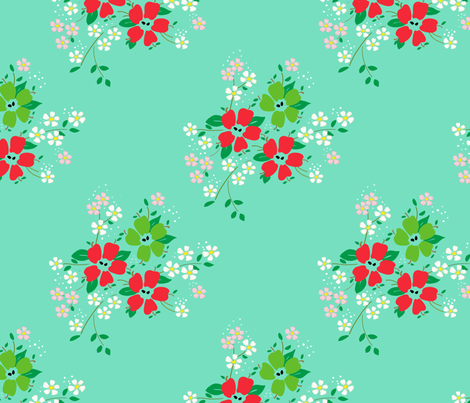 apple-blossoms-mint-green fabric by lonna_jordan on Spoonflower - custom fabric