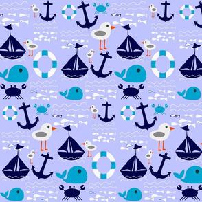 boat at sea blue