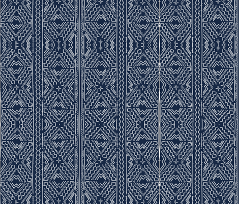 African mud cloth mudcloth tribal white on blue fabric by jenlats on Spoonflower - custom fabric