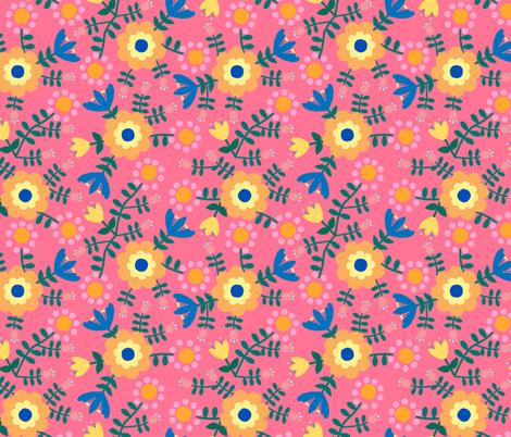 Folk Floral (pink) fabric by lydia_meiying on Spoonflower - custom fabric