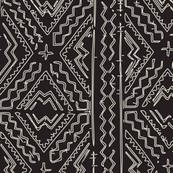 African mud cloth natural on black tribal print
