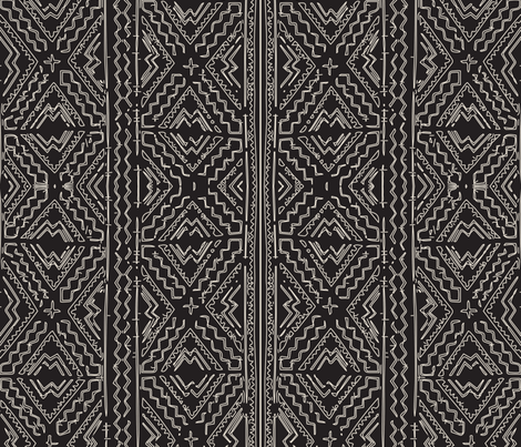 African mud cloth natural on black tribal print fabric by jenlats on Spoonflower - custom fabric