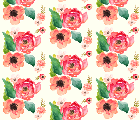 Floral Dreams in  Ivory  fabric by shopcabin on Spoonflower - custom fabric