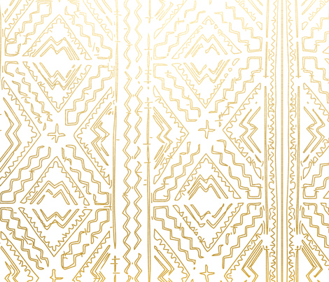 Mud cloth in gold on white medium size fabric by jenlats on Spoonflower - custom fabric
