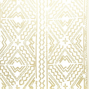 Mud cloth in gold on white medium size