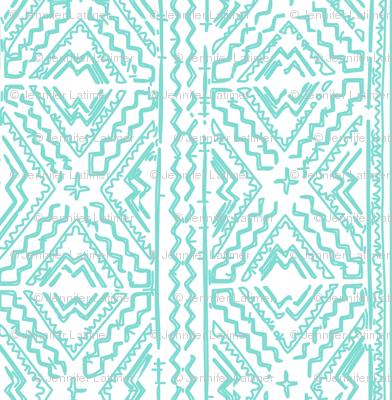 Mud cloth in light turquoise aqua on white