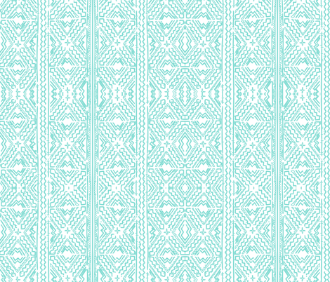 Mud cloth in light turquoise aqua on white fabric by jenlats on Spoonflower - custom fabric