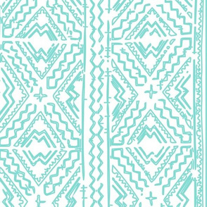 Mud cloth in light turquoise aqua on white