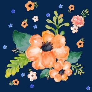 Navy Blue & Orange Floral Dreams