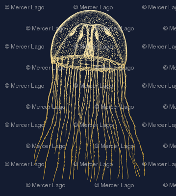 Gold jellyfish on navy