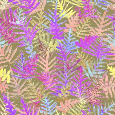 Watercolor Laua'e Ferns Fuchsia on Olive 300