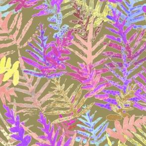 Watercolor Laua'e Ferns Fuchsia on Olive