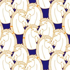 Deco Horses Mustard Navy
