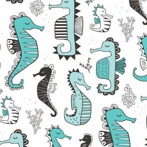 Seahorses Aqua Blue