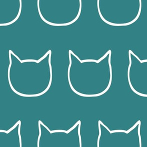 cat outline - teal
