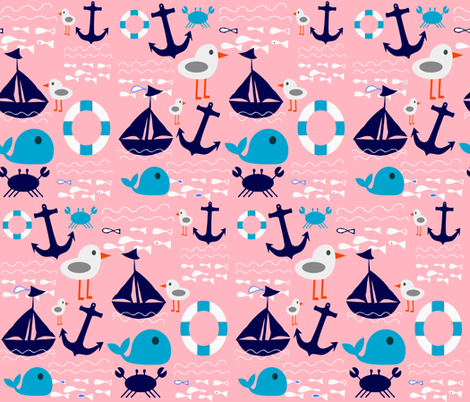boat at sea pink fabric by bruxamagica on Spoonflower - custom fabric