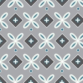 Geometric Flower Tile Gray