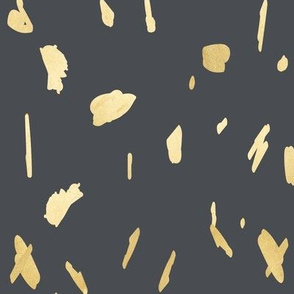 Gold blobs on charcoal