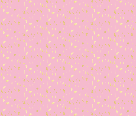 Gold paint splatter blob daubs on pink fabric by jenlats on Spoonflower - custom fabric