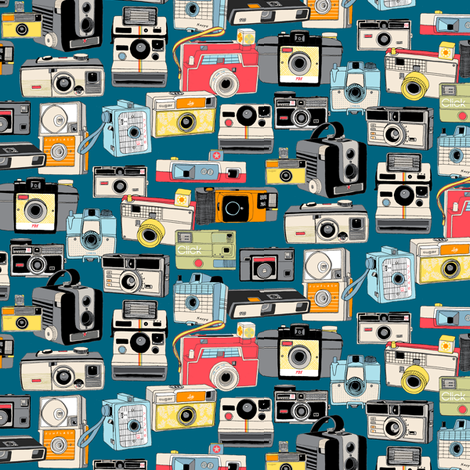 Make It Snappy! (Midnight Mini) || vintage camera illustrations analog photography film photo photographer fabric by pennycandy on Spoonflower - custom fabric