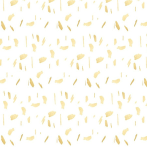 Gold Paint Splatter on White
