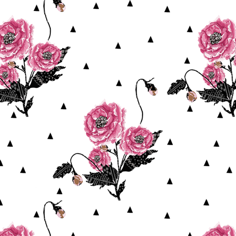 Floral Geometric - Black and Pink fabric by fat_bird_designs on Spoonflower - custom fabric