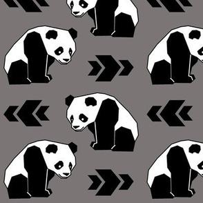 Panda with Grey Background