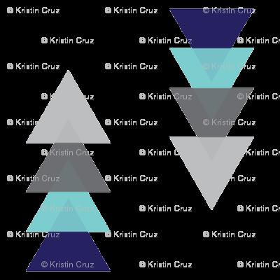 Triangle Tower Grey Navy and Aqua