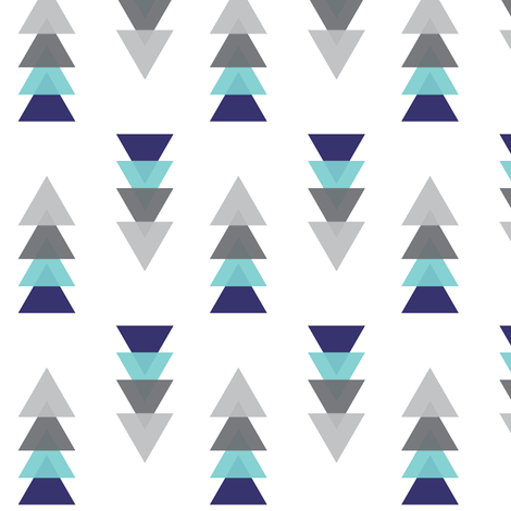 Triangle Tower Grey Navy and Aqua  fabric by graceandcruzdesigns on Spoonflower - custom fabric