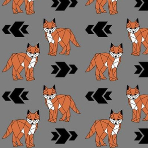 Fearless Fox >> Geometric Arrows Woodland Kids Baby Nursery Illustration >> Orange, Black, and Grey