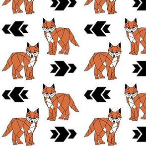 Fearless Fox >> Geometric Arrows Woodland Kids Baby Nursery Illustration >> Orange, Black, and White
