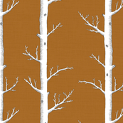 Birch Tree Forest in Rust Orange