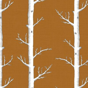 Birch Tree Forest in Rust Orange