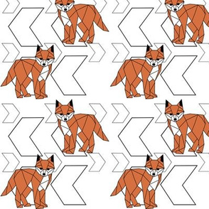 Fearless Fox >> Geometric Big and Small Arrows Woodland Kids Baby Nursery Illustration >> Orange, Black and White