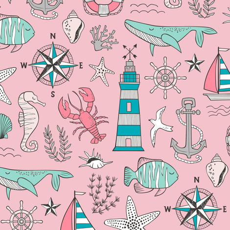 Nautical Doodle with whale,lighthouse,Anchor Mint Aqua Blue on Pink fabric by caja_design on Spoonflower - custom fabric