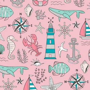 Nautical Doodle with whale,lighthouse,Anchor Mint Aqua Blue on Pink