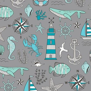 Nautical Doodle with whale,lighthouse,Anchor Mint Aqua Blue on Dark Grey